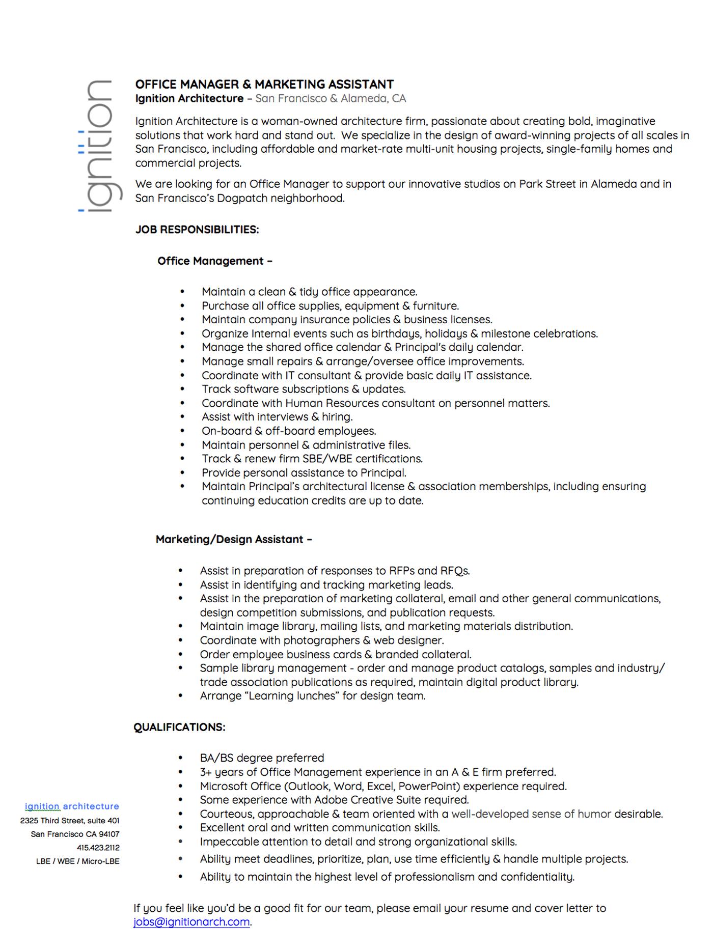 marketing assistant job description
